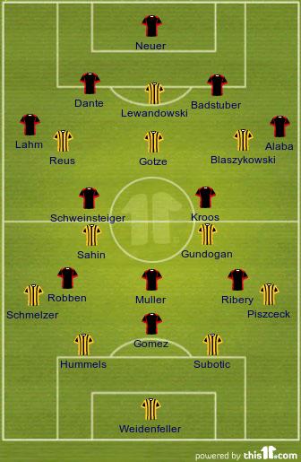 Cl Final 2013 Line Up Bayern Munich Vs Borussia Dortmund Raam