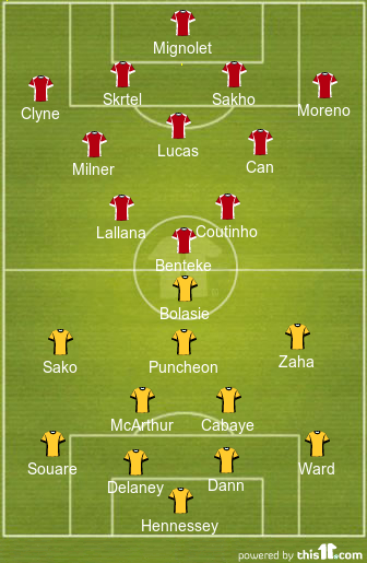 Liverpool FC vs Crystal Palace - Line Ups & Formation