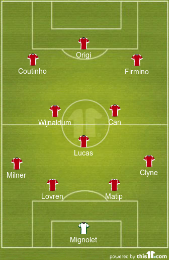 Predicted Liverpool lineup Vs West Brom