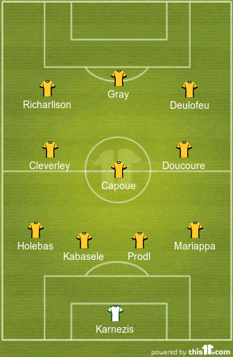 Gray To Start? Predicted 4-3-3 Watford Lineup To Face Chelsea 2